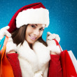Beautiful woman christmas shopping — Stockfoto