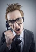 Angry nerd businessman — Stock Photo