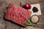 Elegant food preparation: meat — Stock Photo