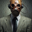 Vintage gas mask and headphones — Stock Photo #42022355