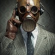 Vintage gas mask and headphones — Stock Photo #42023007