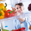 Healthy food in the refrigerator — Photo