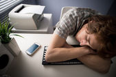 Sleeping on keyboard — Stock Photo