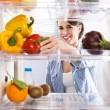 Healthy food in the refrigerator — Foto de Stock