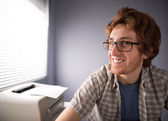 Nerd guy smiling — Foto Stock