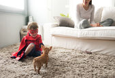 Family with dog at home — Foto de Stock