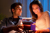 Romantic couple with present — Foto de Stock