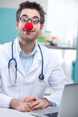 Funny clown doctor — Stock Photo