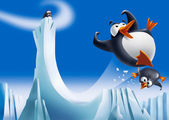 Funny penguins on ice slide — Stock Photo