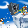 Loud penguin rockstar — Stock Photo #47520589