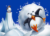 Penguin escaping avalanche — Stock Photo