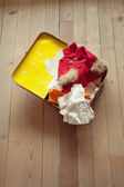 Red and white vintage suitcase — Stock Photo