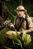 Adventurer lost in the jungle — Stock Photo