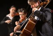 Symphony orchestra performance: celloist close-up — Stock Photo