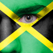 Jamaica flag painted on face — Stock Photo
