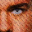 Old rusty metal plate pattern on man face — Stock Photo