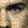 Stock Photo: Face with cracked brown earth pattern