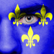 Stock Photo: Medieval France flag painted on face