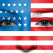 USA flag painted on woman face — Stock Photo