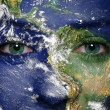 Earth painted on face. Elements of this image furnished by NASA — Стоковая фотография