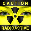 Radioactive sign painted on womface — Stock Photo #28552249