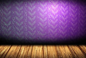 Realistic room with wooden floor and pattern on violet wall — Stock Photo