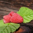 Very tasty summer raspberries with green leaf  — Stock Photo