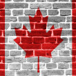 Canada flag painted on old brick wall texture background — Stock Photo