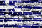 Greece flag painted on old brick wall — Stock Photo