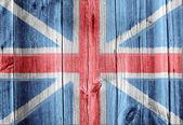 Drewniane ściany z flagi brytyjskiej — Zdjęcie stockowe