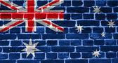 Drapeau de l'australie, peint sur un mur de briques de grunge — Photo