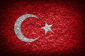 Grunge flag of Turkey on wall background — Stock Photo