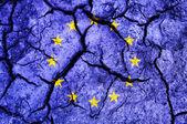 Craquage du sol comme drapeau de l'union européenne — Photo