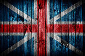 Wooden wall with British flag — Stock Photo
