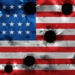 Stock Photo: Grunge USflag in holes