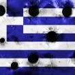 Greece flag with bullet holes — Stock Photo