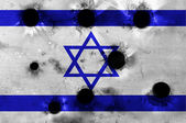 Grunge flag of Israel with bullet holes — Stock Photo