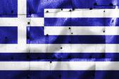 Греция флаг на старый самолет металлической пластине — Стоковое фото