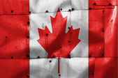 Canada flag on old plane metal plate — Stock Photo