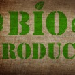 Stock Photo: Bio product sign on old linen background