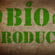 Bio product sign on old linen background — Stock Photo