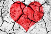 Forma de coração vermelho natural no solo seco rachado — Fotografia Stock