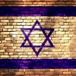 Israel flag on brick wall — Stock Photo