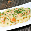 Cheese Penne Pasta with Chicken and Mushroom — Stock Photo