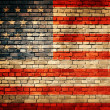 Flag of USA painted on an old brick wall — Stock Photo