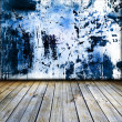 Dark vintage blue room with wooden floor — Stock Photo