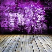 Dark vintage violet room with wooden floor — Stock Photo