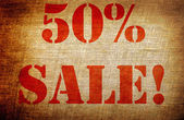 Grunge 50 percent sale — Photo