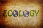 Ecology word on grunge background — Stok fotoğraf