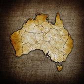 Aged old grunge Australia map illustration — Stock Photo